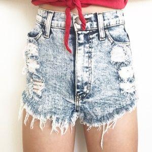 Vibrant M.I.U. Acid Washed High Waisted Shorts (S)